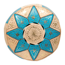 "Casablanca Market - Marrakech Leather Pouf, Baby Blue, Baby Blue - Authentic Moroccan hand-made leather hassock commonly known as Poof. Available in many different colors. This item comes pre-stuffed with recycled thread and fabric, which provides comfort and durability for the poufs. Measures 21"" wide x 12"" high"