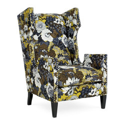 CR Laine - Cromwell Chair - The Cromwell chair captivates with bold, contemporary charisma. Edged with nailhead trim, the seat's intriguing silhouette receives a metallic shine for a surefire statement. Shown in Shanghai Chartreuse; Available in a variety of fabric and finish options; Customizable nailhead trim ; Hand crafted in the USA using sustainable materials; Kiln-dried frames made from responsibly harvested hardwood; Water-based wood adhesive with no VOC emissions; Seat deck and trim pad made from 80% regenerated fibers; Cushion cores made from at least 10% natural plant-based ingredients