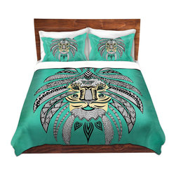 DiaNoche Designs - Duvet Cover Twill - Emperor Tribal Lion Turquesa - Lightweight and soft brushed twill Duvet Cover sizes Twin, Queen, King.  SHAMS NOT INCLUDED.  This duvet is designed to wash upon arrival for maximum softness.   Each duvet starts by looming the fabric and cutting to the size ordered.  The Image is printed and your Duvet Cover is meticulously sewn together with ties in each corner and a concealed zip closure.  All in the USA!!  Poly top with a Cotton Poly underside.  Dye Sublimation printing permanently adheres the ink to the material for long life and durability. Printed top, cream colored bottom, Machine Washable, Product may vary slightly from image.