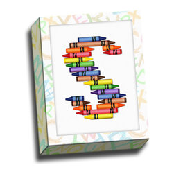 """Picture it on Canvas - Alphabet Crayon Canvas Wall Art, 11""""x14"""", S Crayons - Decorate your home with a piece from our """"ABC Crayon"""" collection."""