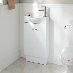 "18"" Utica Vanity - White - Create storage for hand towels and toiletries in a space-challenged bathroom with the Utica Vanity. This economical vanity includes a ceramic sink."