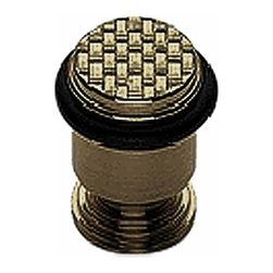 Renovators Supply - Door Stops Antique Brass Basket Weave Floor Mount Door Bumper | 17478 - Door Bumpers: Our Basket Weave door bumper is elegantly designed with period details. Solid brass construction with a beautiful ANTIQUE BRASS finish. CONCEALED center screw simply unscrew the top to insert the screw! No more unsightly screws. Easy floor mount installation includes anchoring center screw. Extra sturdy black bumper prevents damage to your door. Measures 2 1/4 in. H.