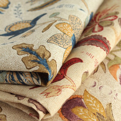Botanique by Suzanne Tucker Home - Derived from traditional 18th century Anglo-Indian prints, Botanique is a highly stylized botanical fantasy set on a tea-stained stippled linen ground.