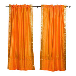Indian Selections - Pair of Pumpkin Rod Pocket Sheer Sari Curtains, 43 X 96 In. - Size of each curtain: 43 Inches wide X 96 Inches drop