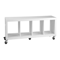 Eurø Style - Sage 4 Shelf Rolling Storage in White - Euro Style - Features: