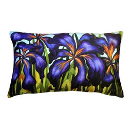 Pillow Decor - Pillow Decor - Purple Irises 12 x 20 Throw Pillow - Deep purple iris petals drape themselves across the front of this colorful rectangular throw pillow. The pale blue of the sky and the rich greens and yellows of the stems and leaves, make this pillow ideal accent for pulling together a wide range of decorating color schemes. The image is a reproduction from a Sandra Forzani original painting and is available exclusively through Pillow Decor. Enjoy this pillow indoors and outdoors.
