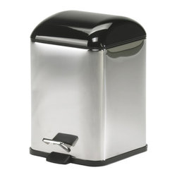 Modo Bath - Karta 5363KN Waste Basket in Black - Karta 5363 by Modo Bath 8.3 x 8.3 x 11.4 Waste Basket, Cover in Coloured Abs, Galvanized Chromed Abs, Transparent Coloured Polycarbonate, Bright Stainless Steel Body, Removable Inner Basket in Polypropylene, Foot-pedal Opening