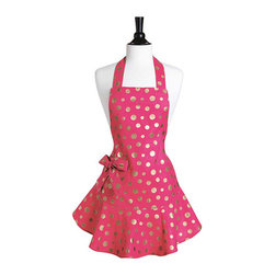 "Jessie Steele - Jessie Steele Pink & Gold Retro Polka Dot Josephine - Introducing a new polka dot: the ""Retro Polka""! These dual polka dots are enhanced with metallic gold to bring out the holiday sparkle. With its adorable ruffle hem, the feminine Josephine is perfect for today's hostess. It features a waist pocket with removable grosgrain bow and adjustable ties at the waist and neck."
