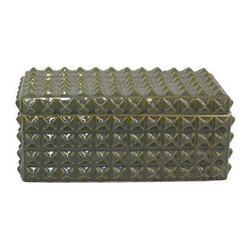 Green Studded Ceramic Box - Store away office supplies, jewelry, or sweet cards from dear friends. This elegant studded box, glazed with a smooth sage green crackle finish, is the perfect place for beautiful treasures.