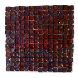 "GlassTileStore - Gaby Dorado Square Glass Tiles - Gaby Dorado Square Glass Tile             Add a happy bursts of color to any room with this beautiful glass tile. This colorful design will give your kitchen, bathroom or any decorated room a bright, fresh look.This material is plastic faced mounted up. See Installation tab for further installation information.           Chip Size: 1"" x 1""   Color: Iridescent Burnt Orange   Material: Glass   Finish: Polished   Sold by the Sheet - each sheet measures 12"" x 12"" (1 sq. ft.)   Thickness: 8mm            - Glass Tile -"