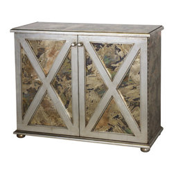 Worlds Away Clayborn Silver Leaf Reversed Mirrored cabinet - Reversed antique mirror crosshatch 2-door cabinet with one interior shelf and champagne silver leaf detailing.