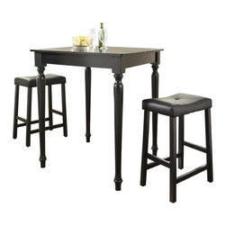 Crosley Furniture - 3 Pc Pub Dining Set w Turned Leg and Saddle S - Includes Pub Table and 2 Upholstered Saddle Stools in Black. Solid Hardwood & Veneer Construction Table . Solid Hardwood Stools. Hand Rubbed, Multi-Step Finish. Solid Hardwood, Fully Turned, Legs. Durable Stain Resistant Faux Leather PVC Seat. Table Dimensions: 36 in. H x 32 in. W x 32 in. D. Stool Dimensions: 40 in. H x 18.5 in. W x 22.5 in. DConstucted of solid hardwood and wood veneers, the 3 piece Pub / High Dining set is built to last. Whether you are looking for dining for two, or just a great addition to the basement or bar area, this set is sure to add a touch of style to any area of your home.