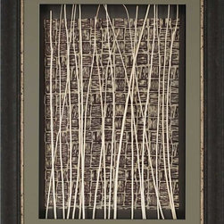 Paragon Decor - Congo Artwork - Sticks are mounted by hand to a decorative paper and framed in an espresso finish molding.