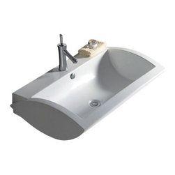 Whitehaus Collection - Whitehaus WHKN1128 Ceramic Rectangular Wall Mount Bathroom Sink Basin - Whitehaus Collection bathroom sinks are modern sleek and stylish. A great option for anyone that wants a unique and eye catching bathroom design!