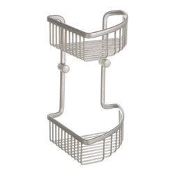 Loft Collection Double Corner Shower Basket - Install this double basket in your shower corner to keep your bottles and soaps organized and off the bathtub rim. Perfect for a master bath suite, this convenient basket also makes a great addition to your guest bath.