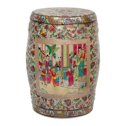 "Oriental Furniture - 18"" Rose Medallion Porcelain Garden Stool - Hand crafted round porcelain garden stool made using high temperature fired, durable Chinese porcelain. Features an appliqued colorful courtyard scene surrounded by a medallion border and an intricate pattern with a fruit, floral, and Oriental object motif; which is fired onto the porcelain in a kiln. Top and bottom band feature traditional Rose Medallion style panels of lotus and bird art. Pierced medallion top surface. Finished in a medium gloss crackle glaze. Use a pair as unique end tables or display on a shelf or in a curio as traditional colorful Asian accents."