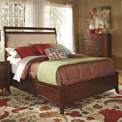 "Wildon Home � - David Sleigh Bed - Functional and attractive, this collection will make a captivating focal point in your master bedroom. This group has tapered legs and metal pull hardware with french front and square back dovetail drawers. The subtle curves of the upholstered headboard is perfect for sitting back and relaxing while you watch late night TV or reading your current book. An underbed storage unit with drawers even offers a tasteful way to store bulkier clothing items and bed linens neatly out of sight. The low profile footboard, side rails and frame are finished in rich cherry to complete the style. Features: -Metal drawer glides.-Casual style.-Full extension glides.-Dovetail drawers: French front and square back.-Box spring or foundation not required.-Finish: Cherry.-David collection.-Distressed: No.-Collection: David.Dimensions: -Queen Dimensions: 56"" H x 93"" W x 63"" D.-King Dimensions: 56"" H x 97"" W x 75"" D.-California King Dimensions: 56"" H x 93"" W x 79"" D.-Overall Product Weight: 92.4 lbs."