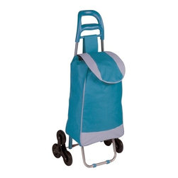 Bag Cart With Tri-Wheels, Blue - Honey-Can-Do CRT-03932 Large Rolling Knapsack Bag Cart with Tri-Wheels for Steps, Blue. Polyester knapsack bag with tri-wheels for curbs, steps and elevated surfaces. Ergonomic comfort grip handle for easy transport. PVC coated wheels are smooth rolling and quiet, will not scuff or damage floors. Knapsack quickly secures contents of bag with black drawstrings. Balance bar and tri-wheels allow bag cart to sit upright, free up your hands. Use the rolling cart in your laundry room, hobby area, kids playroom, or tucked away neatly until ready for use. Product Dimensions: 17.32 in L x 6.69 in W x 39.37 in H. Home and travel organization made easy.