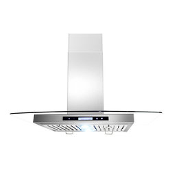 "AKDY - AKDY AK-ZGL9004 Euro Stainless Steel Island Mount  Range Hood, 30"" - This 30"" ventilation hood has a powerful 3-speed motor that can be converted to a recirculating vent system. This allows you to install your ventilation systems in kitchens without directly venting to the outside. The sleek design includes double-sided electronic touch controls with an attractive display that makes it easy to use. 870 CFM threshold allows installation over most 36"" or 30"" cook tops. 3-Speed Electronic Touch Control provides intuitive operation selections. The built in Energy Saving System ensures energy efficient ventilation by automatically shutting off the vent when it is not in use. Two 2-Watt LED light bars provide energy efficient operation with brighter natural light that increases visibility over the cooking surface. The dishwasher safe grease filter helps prevent damage to the ceilings and counter tops. The design increases filtration by lengthening the path of vented air to help capture more steam grease and odors as they are drawn through the vent. Additional purchase of carbon/charcoal filter is needed for recirculation mode. Recirculation kit is optional."