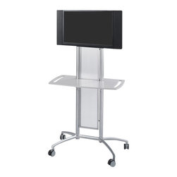 "Safco - Safco Impromptu Flat Panel TV Cart in Gray - Safco - TV Carts - 8926GR - Have instinctive elegance with the Impromptu Flat Panel TV Cart. The cart allows you to move your monitor smoothly and sleekly throughout your workspace on an impulse. With a stunning steel frame and translucent polycarbonate panel it can hold up to a 42"" monitor in style. Cart is mobile on four casters (2 locking). Assembly required."