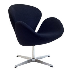 IFN Modern - Swan Inspired Chair-Black - Cashmere Wool - The Swan Chair was originally created by the Danish designer and architect Arne Jacobsen for the prestigious Amsterdam Royal Hotel. Jacobsen's original design was created in 1958 and his artistic vision is represented in this piece- he was motivated by the movement to adapt more organic forms into contemporary interior design. The Swan Chair simultaneously boasts an element of elegance and comfort. The shape of this chair adds intrigue to a variety of spaces with its light, airy appearance and at the same time it's beautiful shape invites one to feel relaxed. â— Product is upholstered in 100% Full Grain Italian Leather, 100% Full Grain Aniline Leather or Fabric (Cashmere or Tweed)â— Base is polished stainless steelâ— Available in multiple colorsâ— Chair comes with foot protectors â— 360 degree swivel
