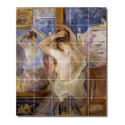 Picture-Tiles, LLC - Before The Mirror Tile Mural By Berthe Morisot - * MURAL SIZE: 48x40 inch tile mural using (30) 8x8 ceramic tiles-satin finish.