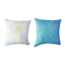Kaypee Soh - Nautilus Pillow - Aqua - Beautiful, geometric swirls and rich colors make up this beautiful beach theme design. Classic yet fun and whimsical.