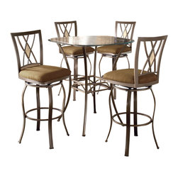"Hillsdale - Hillsdale Brookside 5-Piece Bar Height Bistro Table Set with Diamond Stools - Hillsdale - Pub Sets - 4815PTBSDM5 - Hillsdale Furniture's versatile bistro collection features the panache of a pub with all comfort and convenience of full scale dining. This round bar height table is topped with a stunning 36"" glass top. The always in demand Brookside barstools are a lovely compliment to the this table as well."