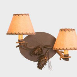 Steel Partners Inc - Ponderosa Pine Mountain Brown Timber Wall Sconce with Oiled Kraft Leather Whippe - -Additional finish and shade options available. Please call Customer Service 877-723-5522 to order. Steel Partners Inc - 4565-MNTBRN-OILLEATHER