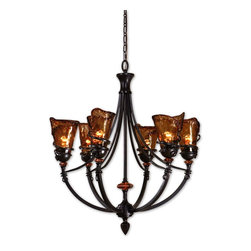 Uttermost - Uttermost Vitalia 6 Light Oil Rubbed Bronze Chandelier 21227 - Hand wrought, oil rubbed bronze metal curls around heavy, hand made glass. Its amber tonalities are key in this exciting mix of materials.
