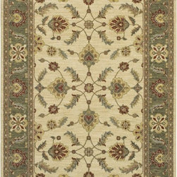 """Karastan - Sierra Mar Sedona Ivory Limestone Oriental 9'6"""" x 13'2"""" Karastan Rug (33009) - Comfortable, weathered, easy to live with color, is the signature style of the Sierra Mar collection, with relaxed patterns that complement both traditional and modern design. Woven in the U.S.A., the pure New Zealand worsted wool yarns have been specially twisted and space-dyed to create artful color 'stria' reminiscent of fine hand woven 'Peshawar' rugs."""