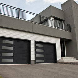 Contemporary - Garage Doors - Model XL, 9' x 7', Black, Window layout: Left-side Harmony