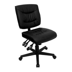 Flash Furniture - Black Leather Multi-Function Task Chair - Thickly padded seat and back. Height adjustable back. Back angle adjustment. Pneumatic seat height adjustment. Seat pitch adjustment. Black bonded leather upholstery. Tilt tension control. Triple paddle control mechanism. Heavy duty 5-Star nylon base. Dual wheel casters. Warranty: 2 years limited. Assembly required. Back: 18.25 in. W x 16.75 in. H. Seat: 18.25 in. W x 18.5 in. D. Seat Height: 18.25 - 22.25 in.. Overall: 25 in. W x 25 in. D x 34 - 40.25 in. H (30 lbs.)