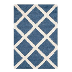 Safavieh - Ackerman Hand Tufted Rug, Navy / Ivory 2' X 3' - Construction Method: Hand Tufted. Country of Origin: India. Care Instructions: Vacuum Regularly To Prevent Dust And Crumbs From Settling Into The Roots Of The Fibers. Avoid Direct And Continuous Exposure To Sunlight. Use Rug Protectors Under The Legs Of Heavy Furniture To Avoid Flattening Piles. Do Not Pull Loose Ends; Clip Them With Scissors To Remove. Turn Carpet Occasionally To Equalize Wear. Remove Spills Immediately. Bring classic style to your bedroom, living room, or home office with a richly-dimensional Safavieh Cambridge Rug. Artfully hand-tufted, these plush wool area rugs are crafted with plush and loop textures to highlight timeless motifs updated for today's homes in fashion colors.
