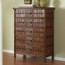 Hospitality Rattan - Hospitality Rattan Polynesian Five Drawer Chest - Antique Multicolor - 710-5278- - Shop for Dressers from Hayneedle.com! Add some fun style and substance to your bedroom furniture collection with the Hospitality Rattan Polynesian Five Drawer Chest - Antique. Making a wonderful addition for any bedroom the Polynesian chest features bamboo and woven rattan wicker for a unique tropical motif. The five drawers feature metal glides for easy operation. This chest comes in a rich dark brown color. No assembly required. Dimensions: 36W x 20D x 50H inches.About Hospitality RattanHospitality Rattan has been a leading manufacturer and distributor of contract quality rattan wicker and bamboo furnishings since 2000. The company's product lines have become dominant in the Casual Rattan Wicker and Outdoor Markets because of their quality construction variety and attractive design. Designed for buyers who appreciate upscale furniture with a tropical feel Hospitality Rattan offers a range of indoor and outdoor collections featuring all-aluminum frames woven with Viro or Rehau synthetic wicker fiber that will not fade or crack when subjected to the elements. Hospitality Rattan furniture is manufactured to hospitality specifications and quality standards which exceed the standards for residential use.Hospitality Rattan's Environmental CommitmentHospitality Rattan is continually looking for ways to limit their impact on the environment and is always trying to use the most environmentally friendly manufacturing techniques and materials possible. The company manufactures the highest quality furniture following sound and responsible environmental policies with minimal impact on natural resources. Hospitality Rattan is also committed to achieving environmental best practices throughout its activity whenever this is practical and takes responsibility for the development and implementation of environmental best practices throughout all operations. Hospitality Rattan main