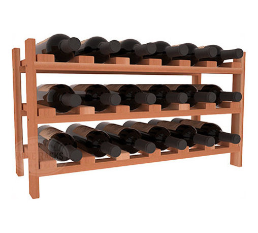 18 Bottle Stackable Wine Rack in Pine with White Wash Stain + Satin Finish - Expansion to the next level! Stack these 18 bottle kits as high as the ceiling or place a single one on a counter top. Designed with emphasis on function and flexibility, these DIY wine racks are perfect for young collections and expert connoisseurs.