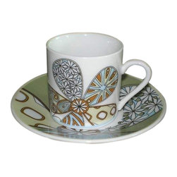 La Pavoni - Flower Cup & Saucer Design Espresso Demitasse - Set of 6 - Set of 6. Decorated espresso cups with matching saucers. Beautiful designer espresso cups and saucers will accent any table. Rich colors and delightful patterns. Safe and crafted of fine porcelain. 1-Year warranty. Capacity: 2.2 oz.