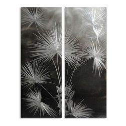 Pure Art - Fantasy Flowers Two-Piece Handmade Metal Wall Art Hanging - Create an explosion of blossoms on your wall, year round, even in the bleak months of winter with this fun aluminum wall art hanging pair! The Fantasy Flower Two Piece Handmade Metal Wall Art Hanging features two individually handcrafted metal panels that come together to form an eye-catching abstract floral display.  This fabulous metal wall art is done up in a monochrome color scheme to make it even more visually appealing on the walls of your home or office. Vertical styling makes this two piece metal wall art decor perfect for even those narrow walls that tend to be hard to decorate.  Crafted from premium aluminumMade with top grade aluminum material and handcrafted with the use of special colors, it is a very appealing piece that sticks out with its genuine glow. Easy to hang and clean.