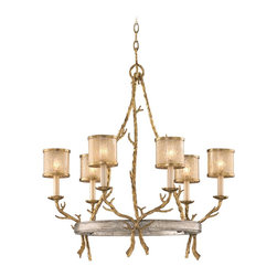 """Corbett - Parc Royale 29"""" Wide Chandelier - The Parc Royale Collection is a tribute to traditional rustic looks. However the proportions are more delicate and the glowing finishes give the collection a distinctive sophistication. The gold leaf finish that covers the hand-wrought finial and branches glows softly along with the golden ice glass bowl. The round canopy and bowl rim have a silver leaf finish for an antique sheen. Golden ice glass gives the shades a glimmering glow and an eye-catching surface. Gold and silver leaf finish. Golden ice glass. Hand wrought iron. Takes six 60 watt candelabra bulbs (not included). 29"""" wide. 31 3/4"""" high.  Gold and silver leaf finish.  Golden ice glass.  Hand wrought iron.  Takes six 60 watt candelabra bulbs (not included).  29"""" wide.  31 3/4"""" high."""