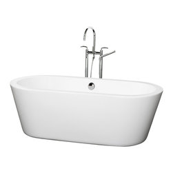 Wyndham Collection - 67 in. Soaking Bathtub in White - Includes cable driven pop up drain and waste overflow are installed. Tub filler not included. Elegant symmetry. Soft curves. Minimalist lines. Much deeper than standard tubs for full immersion. Warmer to the touch and more comfortable than traditional enamel or steel tubs. Acrylic construction for strength and ease of handling and installation. Adjustable base for accurate leveling and stability. Maximum fill: 60 Gallons. Drain: 18.5 in. D. Interior: 61 in. W x 25.25 in. D x 18 in. H. Exterior: 67 in. W x 31.25 in. D x 23 in. H. Assembly InstructionsThe Mermaid Soaking Tub is an expression of modern design, practicality and just plain luxury. Built to last and always warm to the touch, the Verona Bathtubs are a perfect place to melt away tension and stress, leaving you refreshed, recharged and renewed.