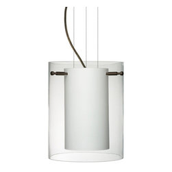 Besa Lighting - Besa Lighting 1KG-C00607-LED Pahu 1 Light LED Cable-Hung Pendant - The Pahu is a distinctive double-glass pendant, with an inner opal cylinder centered within a transparent outer glass The clear blown glass complements the soft white Opal cased glass, which can suit any classic or modern decor. Opal has a very tranquil glow that is pleasing in appearance, as the clear glass sparkles with the accents from that glow. The smooth satin finish on the opal's outer layer is a result of an extensive etching process. This blown glass combination is handcrafted by a skilled artisan, utilizing century-old techniques passed down from generation to generation. The cable pendant fixture is equipped with three (3) 10' silver aircraft cables and 10' AWM cordset, and a low profile flat monopoint canopy.Features: