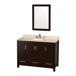 "Wyndham Collection - Wyndham Collection Sheffield 48"" Espresso, Ivory Marble, Oval Sink - Wyndham Collection®"