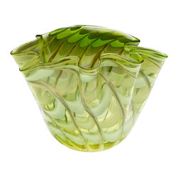 Kathy Kuo Home - Large Coastal Beach Light Green Yellow Scalloped Edge Glass Fruit Bowl - A scalloped edge and unique swirl effect of green and yellow color bursts to life in this delightful glass bowl.  Delivers a dash of vintage style in a citrus palette; perfect for mid century modern rooms.