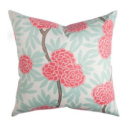 Mint Fleur Chinoise Pillow - Switch out a pillow or two on your couch and replace them with ones in fun, bright patterns to keep your living room bright for the months ahead.