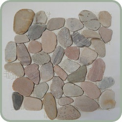 Design For Less - Bermuda Flat Pebble Tile - You'll hardly believe the way your space is so beautifully transformed with this highly unique (not to mention gorgeous) pebble tile. It feels amazing under your feet and brings nature's elements to your comfort zone. These flat pebbles are reminiscent of the sands of Bermuda and make a beautiful tile for your shower.