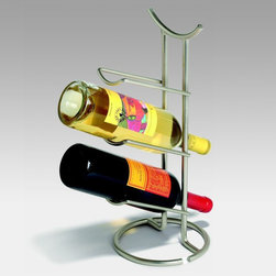 Spectrum - Spectrum Euro 3-Bottle Wine Rack - 47010CAT - Shop for Wine Bottle Holders and Racks from Hayneedle.com! Every day will feel like a special occasion with the Spectrum Euro 3-Bottle Wine Rack at your place. Constructed of metal in your choice of finish this wine rack offers a simple yet striking design with three tilted tiers for three of your favorites. The composition of gently curved lines from the bottle holders to the sweeping top swoop offers a touch of urbane style while the convenient structure and tabletop size invite you to take your pick and enjoy. Dimensions: 7.25L x 6.7W x 16H inches.
