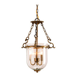 Kathy Kuo Home - Petit Athena Hanging Glass Dome 3 Light Lantern Pendant - A lovely version of the classic hanging glass dome is made even better with a touch of handsome ironwork and seeded glass.