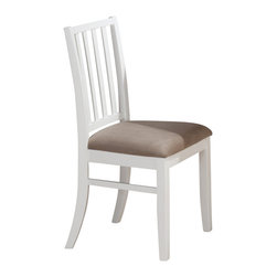 Jofran - Jofran Aspen White Stephie Side Chair w/ Seat Cushion and Slat Back (Set of 2) - Complement your dining table with the charming Stephie side chair. The slat backrest and tapered legs maintain a casual style with a complementing seat cushion for comfort. Pair with the matching pedestal table for the complete set. Available in a Aspen White or Aspen Merlot finish with matching seat cushions. What's included: Side Chair (1).