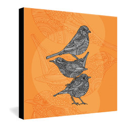DENY Designs - Valentina Ramos 3 Little Birds Gallery Wrapped Canvas - Three little songbirds ornamented with henna-like patterns are set against a monochromatic goldenrod background, giving a clean, modern silhouette to an intricate ink design. The print is dyed onto canvas with contrasting black borders for a frameless presentation. This versatile piece of wall decor would be equally at home within modern or eclectic decor settings.