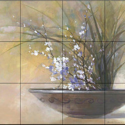 The Tile Mural Store (USA) - Tile Mural - Sanctuary Ii - Kitchen Backsplash Ideas - This beautiful artwork by Yumiko Ichikawa has been digitally reproduced for tiles and depicts an interesting brown glazed clay pot filled with delicate pink and purple flowers and dried stems.  With our enormous selection of tile murals of plants and flowers you can bring your kitchen backsplash tile project to life. A decorative tile mural with plants and flowers is an impressive kitchen backsplash idea and decorative flower tiles also work great in the bathroom. Add splashes of color and life to your tile project with images of flowers on tiles and tiles with pictures of plants.
